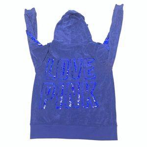 VS Pink Love Size Medium Sequin Hoodie Top
